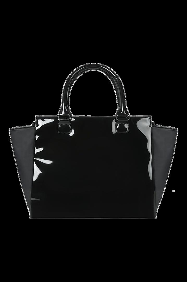 Plume Vinyle Satchel Bag M Black   5
