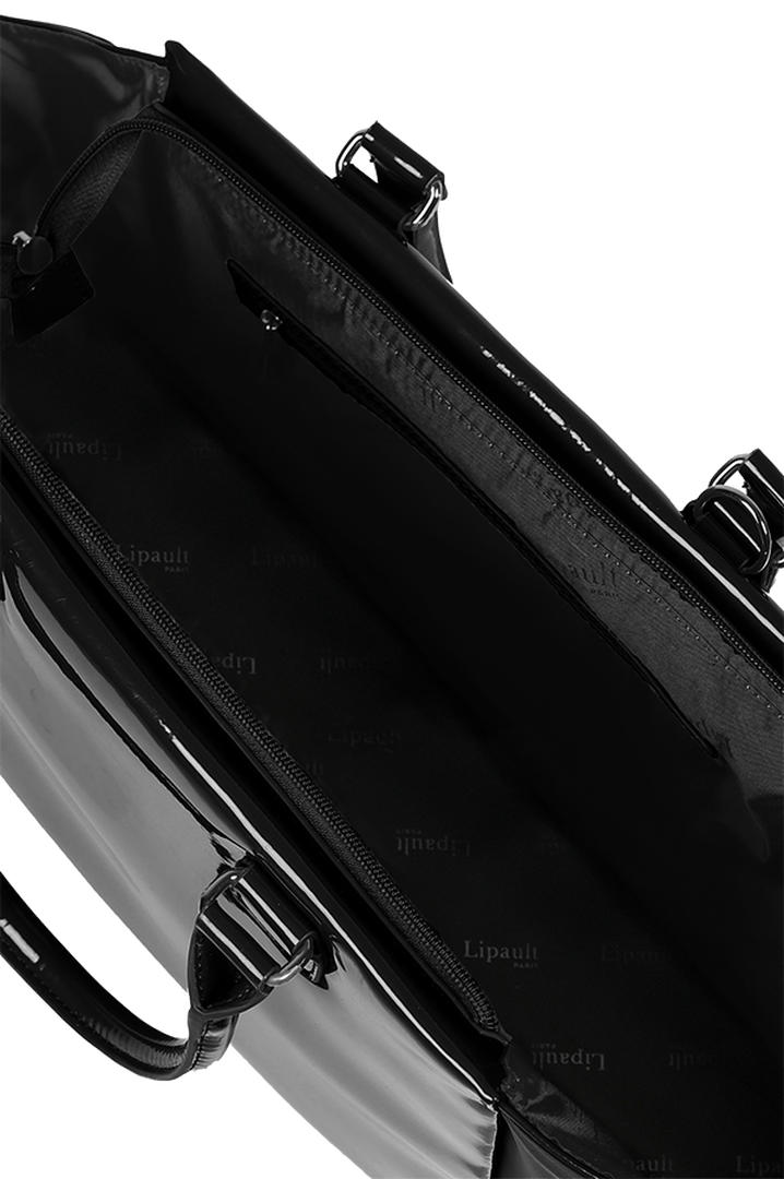 Plume Vinyle Satchel Bag M Black   2