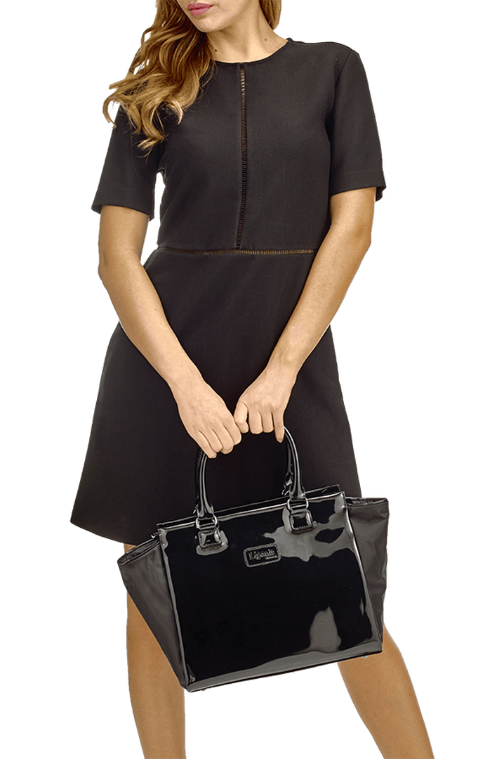 Plume Vinyle Satchel Bag M Black   3